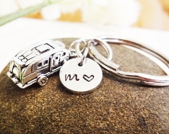 CAMPER KEYCHAIN with initial charm - travel trailer - Please see all photos to order - One flat rate shipping in my shop :)