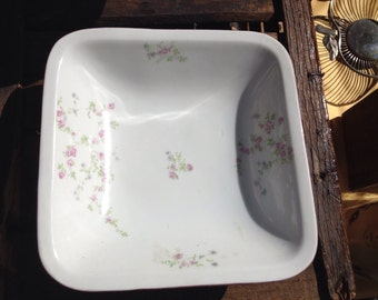 Original italian ceramic plate, decoration with flowers, square 20 cm x 20 cm, intact, about '50, perfect vintage conditions