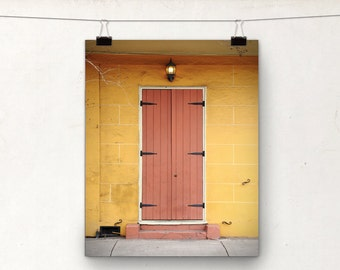 Door Photograph, NOLA Architecture, Art Print, Orange Yellow, New Orleans
