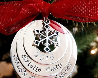 Personalized family christmas ornament hand stamped mom dad children grandma grandpa