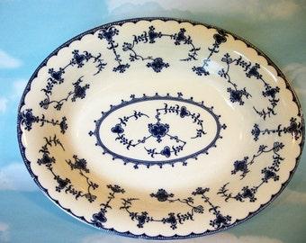Blue Delft by Maruta Japan, Oval serving bowl, cottage chic, vegetable bowl, vintage bowl
