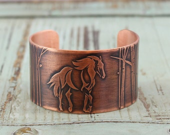 Horse through the Aspens Handmade Copper Cuff Bracelet