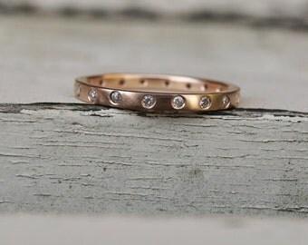 Rose gold diamond eternity ring, rose gold full eternity