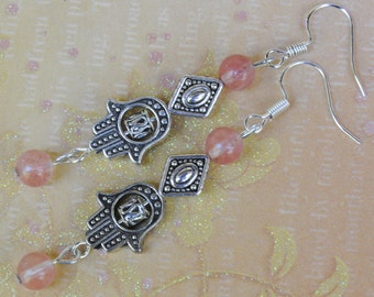 Hamsa earrings. Hamsa hand earrings. Hand Cherry Quartz earrings. Spiritual earrings. Evil eye earrings. Protection good health earrings.