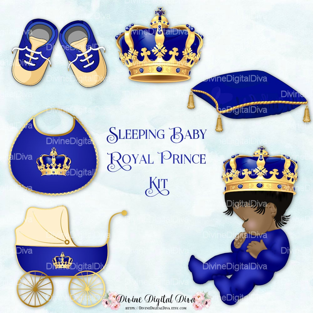 Sleeping Baby Prince Royal Blue Gold Ornate Crown