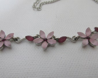 Vintage Pendant, Pink Crystal Necklace, Floral Choker Three Flowers, Rose Crystals, Collectible jewelry
