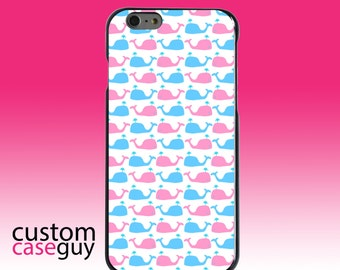 Hard Snap-On Case for Apple 5 5S SE 6 6S 7 Plus - CUSTOM Monogram - Any Colors - Blue Pink Cartoon Whales