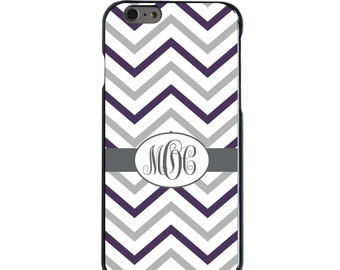 Hard Snap-On Case for Apple 5 5S SE 6 6S 7 Plus - CUSTOM Monogram - Any Colors - Purple Grey Chevron Stripes