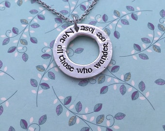 "Hand Stamped pewter Necklace, ""not all those who wander are lost"", celtic style, Latin quote, personalised, custom, chunky, weighty"