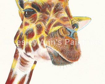 Giraffe A3 original painting on canvas textured paper.