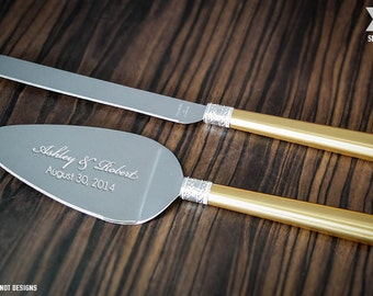 Personalized Vera Wang With Love Gold Wedding Cake Knife and Server Set - (2 PC) Custom Engraved Cake Server and Knife Set - Wedding Gift