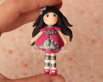 Necklace Gorjuss Girl in polymer clay