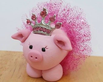 Pink Princess Pig Ornament with Pink Accents