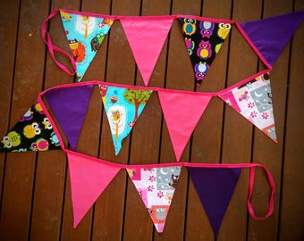 Fabric bunting flags - Owls, Owls, Owls
