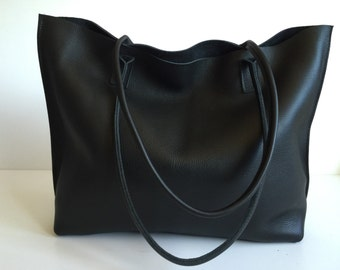 Daily SALE!! Classic Large Black Leather Tote