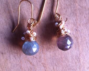 Labradorite and Seed Pearl Earrings