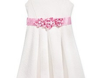 Little Girls' Sleeveless Textured Dress with colorful rosette details Size 5T