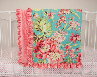 Floral  Teal, Coral, and Mint Baby Crib Cot Blanket with Optional Name Embroidery made with Love Bliss Bouquet Fabric