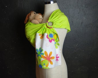 Doll ring Sling,Doll sling, Toy ring sling,Baby doll Wrap,Baby doll Carrier, Children Sling, Toddler ring sling, Green toy carrier
