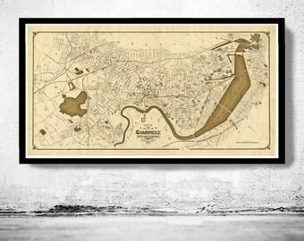 Old Map of Cambridge,  Massachusetts Vintage 1910