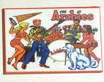 "The ARCHIES Metal LUNCHBOX 2"" x 3"" Fridge MAGNET Art Vintage Side A"