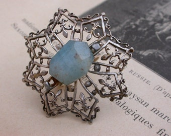 French antique silver  tone metal large ring lys flower ring  filigree military royal symbol  gemstone aquamarine  silver ring jewelry