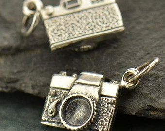 Sterling Silver Camera Charm -Photography-Pictures-Hobby