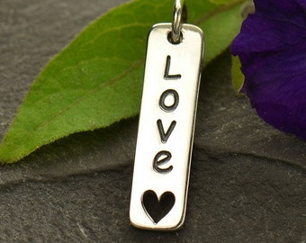 Sterling Silver Vertical Love Word Charm with Heart Cut Out