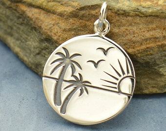 terling Silver Etched Sunset in Paradise Charm