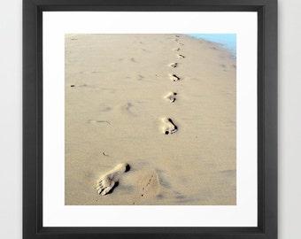 Footprints, Footprints Photo, Footprints Print, Footprints on the Beach, Sandy Beach, Footprints art, Island, Ocean, Path, Seaside, tan