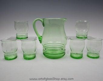 Set of 6 green glasses/tumblers & jug