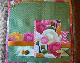 12 x 12 scrapbook page. Pre-made scrapbook page,floral, green
