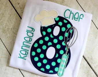 Chef hat birthday shirt for girls Girl Baker Cooking chef party shirt Mint navy teal shirt for girls
