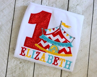 circus birthday shirt first birthday circus shirt circus tent birthday girls circus birthday shirt with circus primary colors red blue