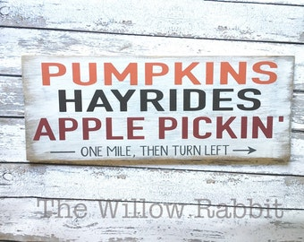 Pumpkin Hayrides Apples   Pumpkin Sign   Rustic Fall Decor   Fall Decor   Autumn   Farmhouse Fall   Fall Sign