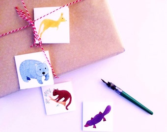 Mini gift card, gift tag, stationery, note card, thank you note, gift giving, australian wildlife themed stationery, kangaroo, platypus