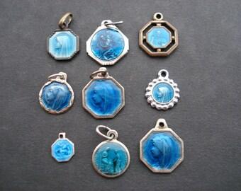 9 Religious antique french enamel religious medals pendants.  ( 6 )