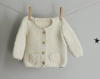 Handknit Baby Cardigan, Cream Cardigan