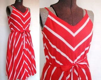 Striped Red and White Sundress Size Medium