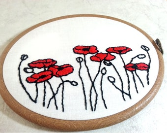 Hand Embroidery Pattern, Poppies embroidery design, Poppy hand embroidery chart - Embroidery pdf