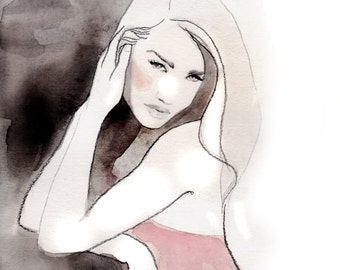 Rosie, print from original watercolor and mixed media fashion illustration by Kristen Baker