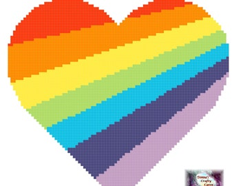 Rainbow Heart Gradient (6) cross stitch pattern bright colourful love pdf instant download printable
