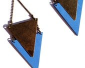 Sky blue leather earring / triangle metal bronze CHEYENNE - Collection