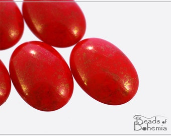 2 pcs Red Teracota Czech Glass Oval Cabochon 25x18 mm (9789)