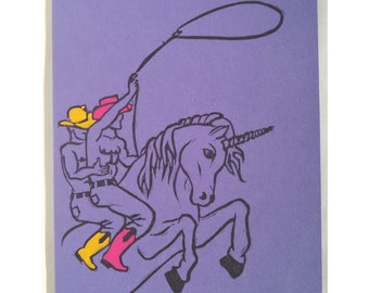 Unicorn Card, Sexy Cowboys on a Unicorn Card from Hand-carved Stamp