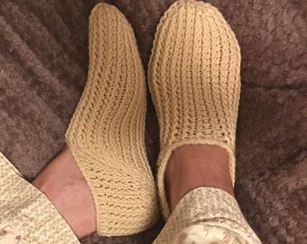 CROCHET PATTERN Brooke Continuous Heel Slipper Socks Instant Download PDF