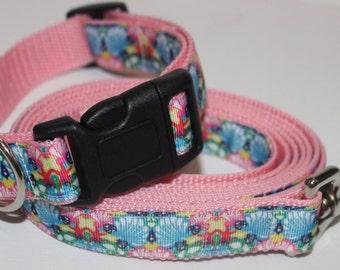 Lilly Pulitzer Inspired Dog Collar and Leash- Chiquita Bonita Pink
