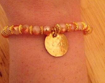 Stretch golden charm bracelet-charm bracelet-beaded bracelet-golden bracelet-gold tone bracelet-stretch bracelet-stretch beaded bracelet-