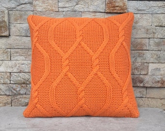 Rustic Orange Cable Knit Cushion / Throw Pillow Cover