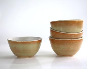 ceramic bowl mint and matt white interior , handmade